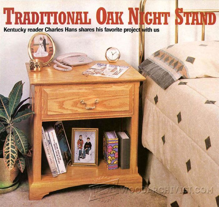 Traditional Oak Night Stand Plans Woodarchivist