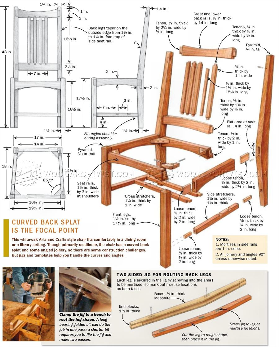 Arts and crafts furniture plans - Arts And Crafts Side Chair Plans Arts And Crafts Side Chair Plans