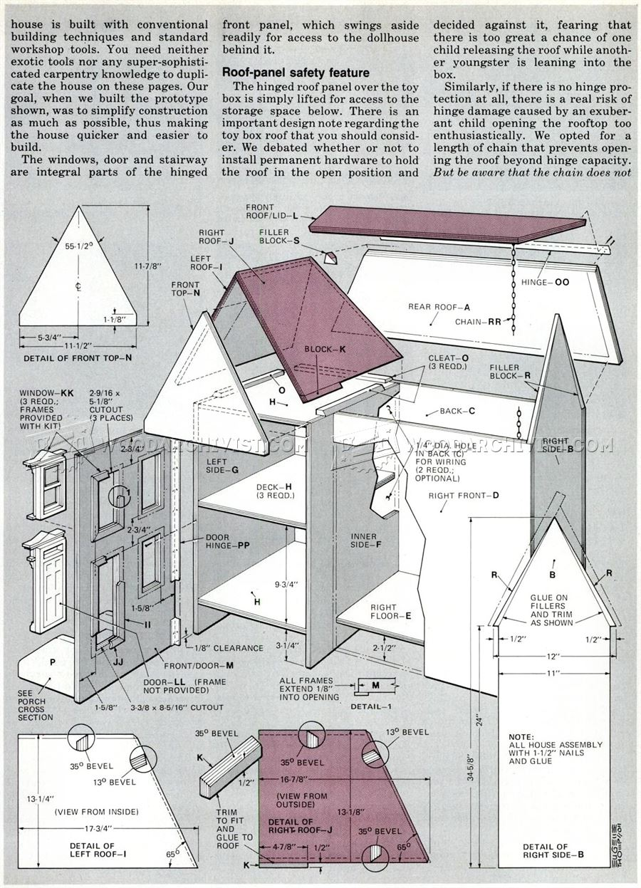 618 Wooden Doll House Plans - Wooden Toy Plans