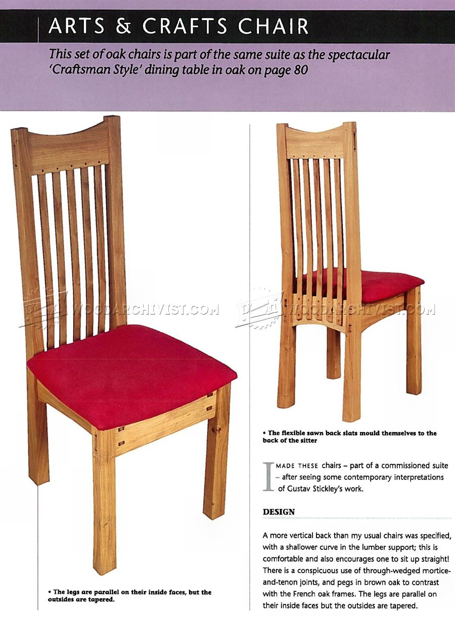 Arts and crafts chair plans woodarchivist for Arts and crafts furniture plans