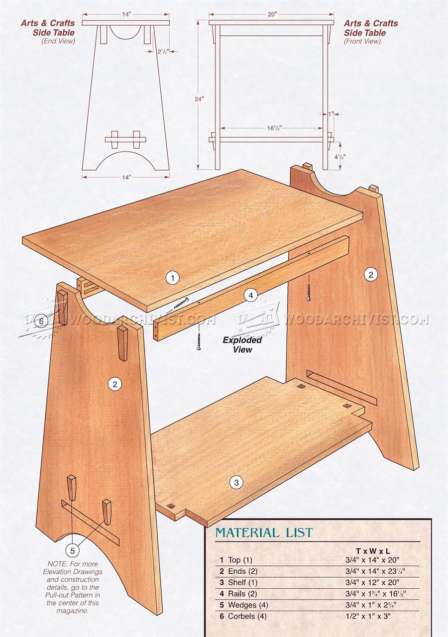 Art and crafts style side table plans woodarchivist for Side table plans