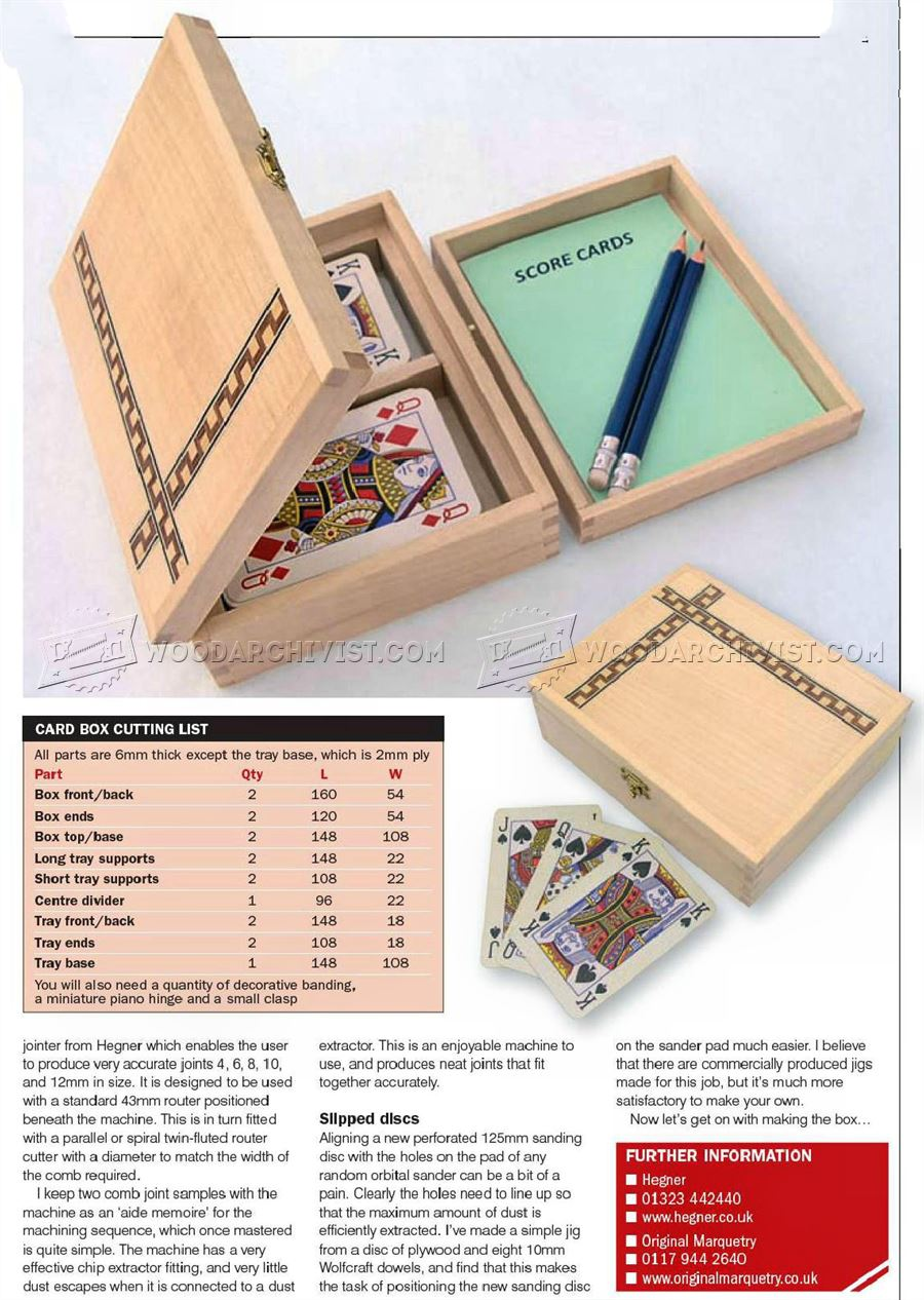 Playing Card Box Plans