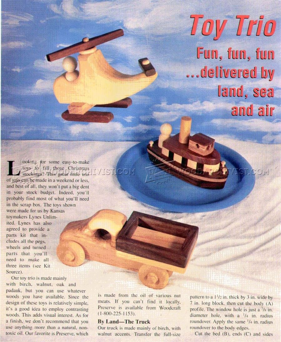 Wooden Toy Truck, Tugboat and Helicopter