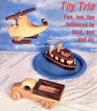 692-Wooden Toy Truck, Tugboat and Helicopter