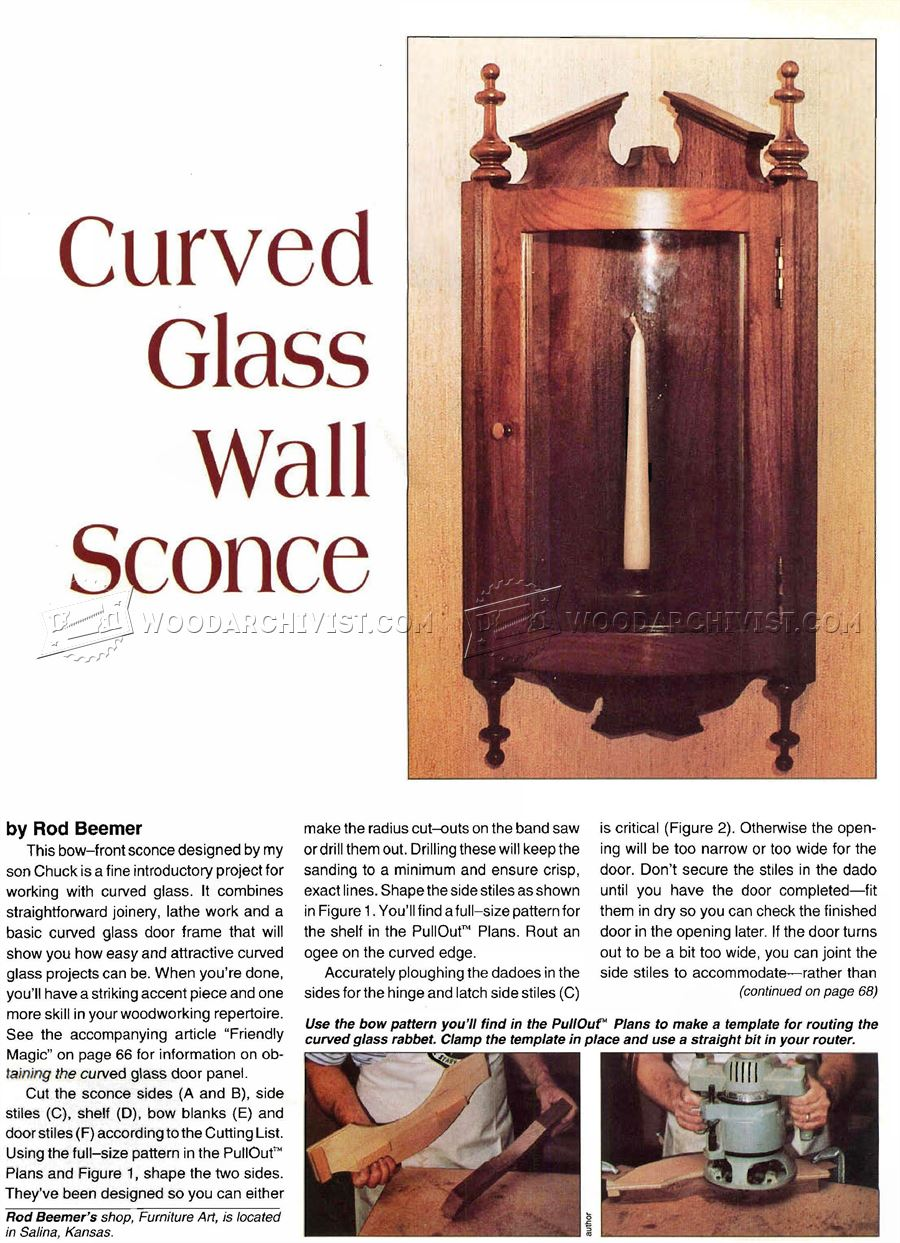 Curved Glass Wall Sconce Plans