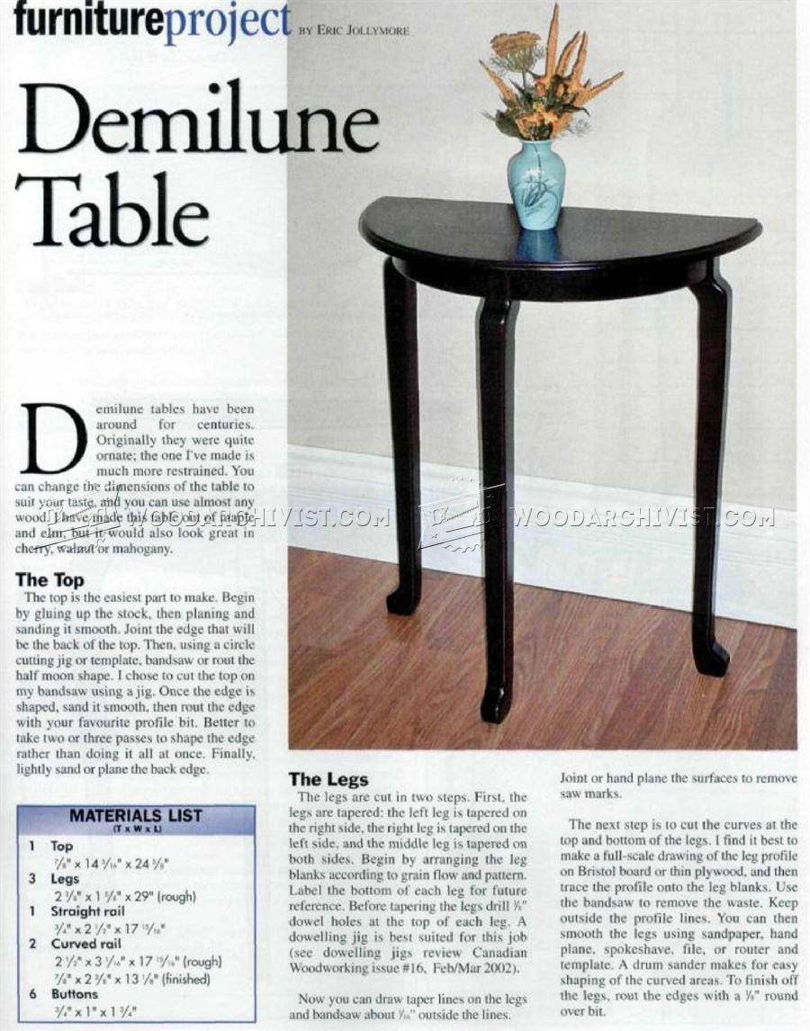 Demilune Table Plans
