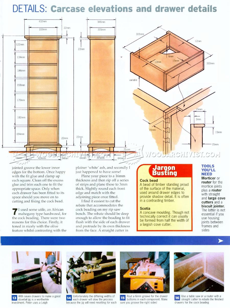 High Chest of Drawers Plans
