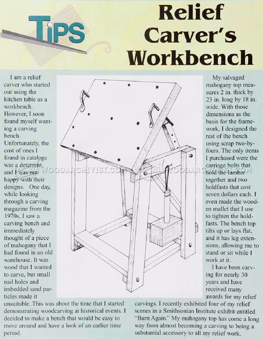 Relief carving workbench plan woodarchivist