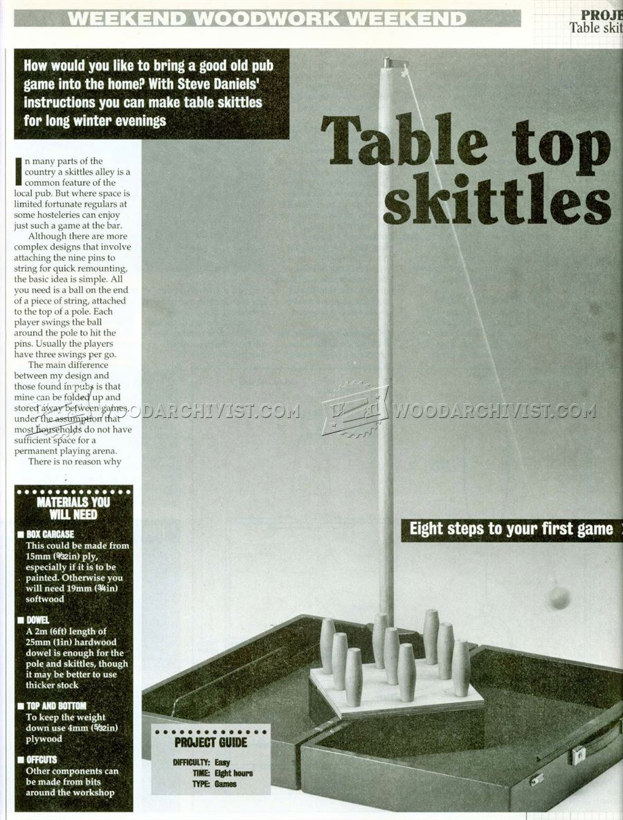 Table Skittles Plans Woodarchivist