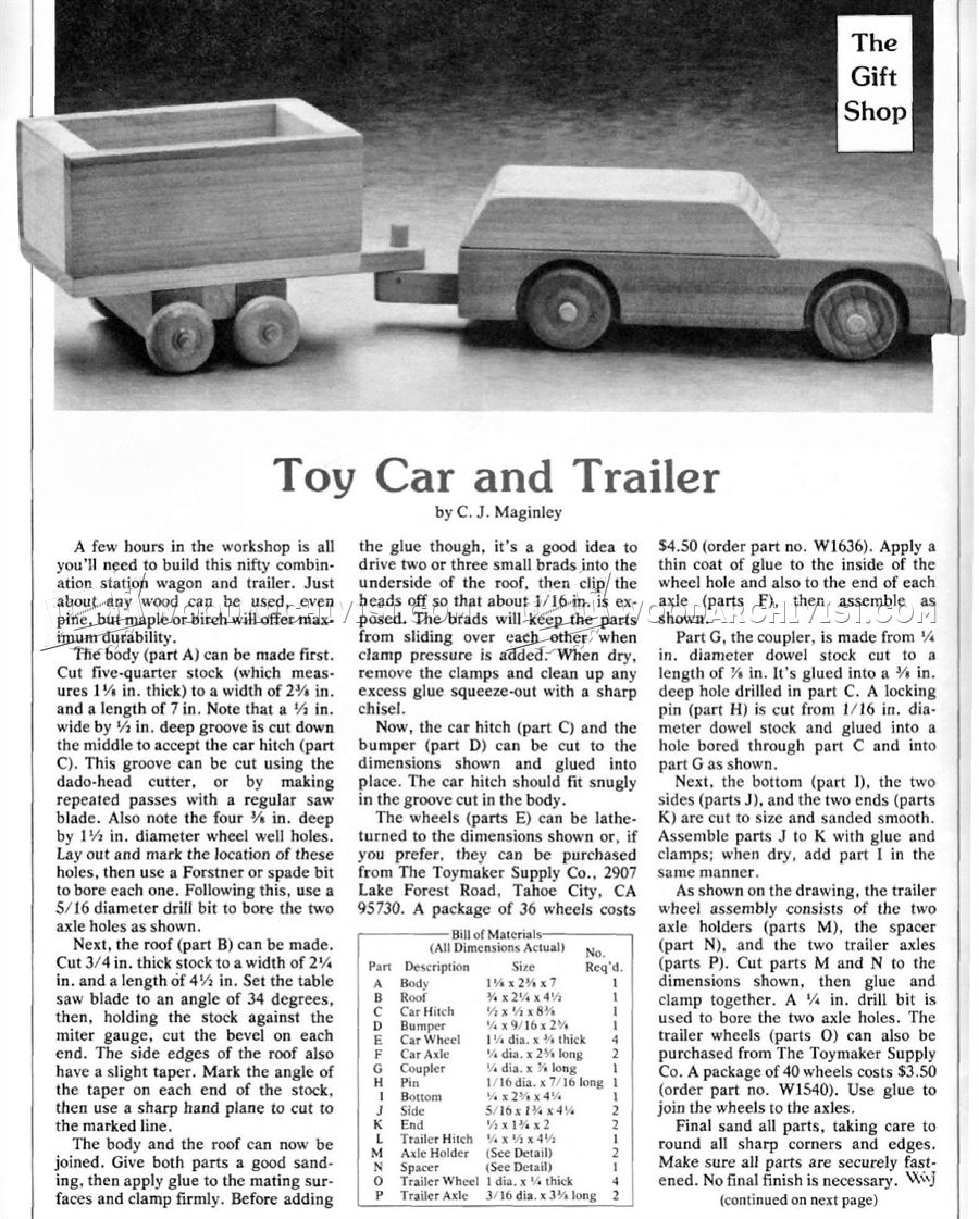 Wooden Car and Trailer Plans • WoodArchivist