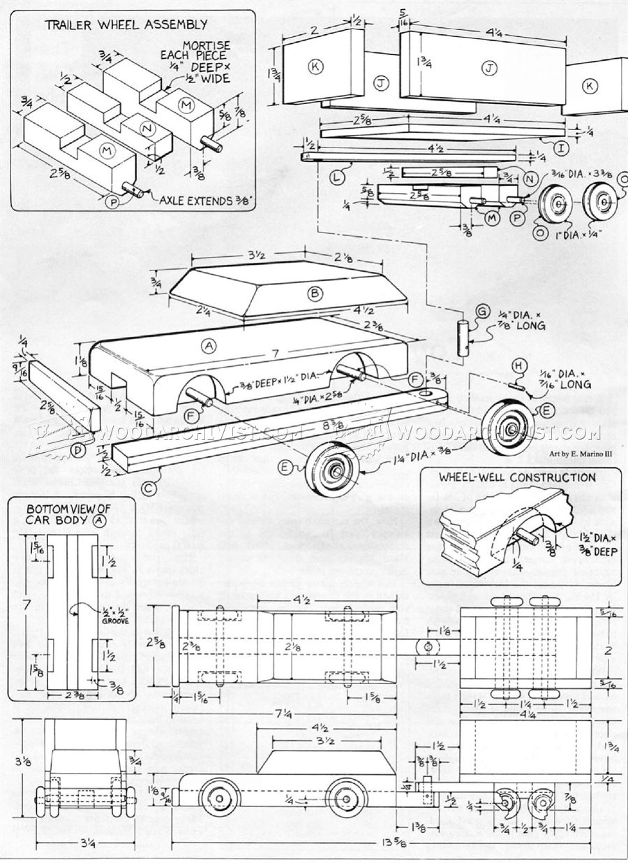 Toy Car Plans : Wooden car and trailer plans woodarchivist