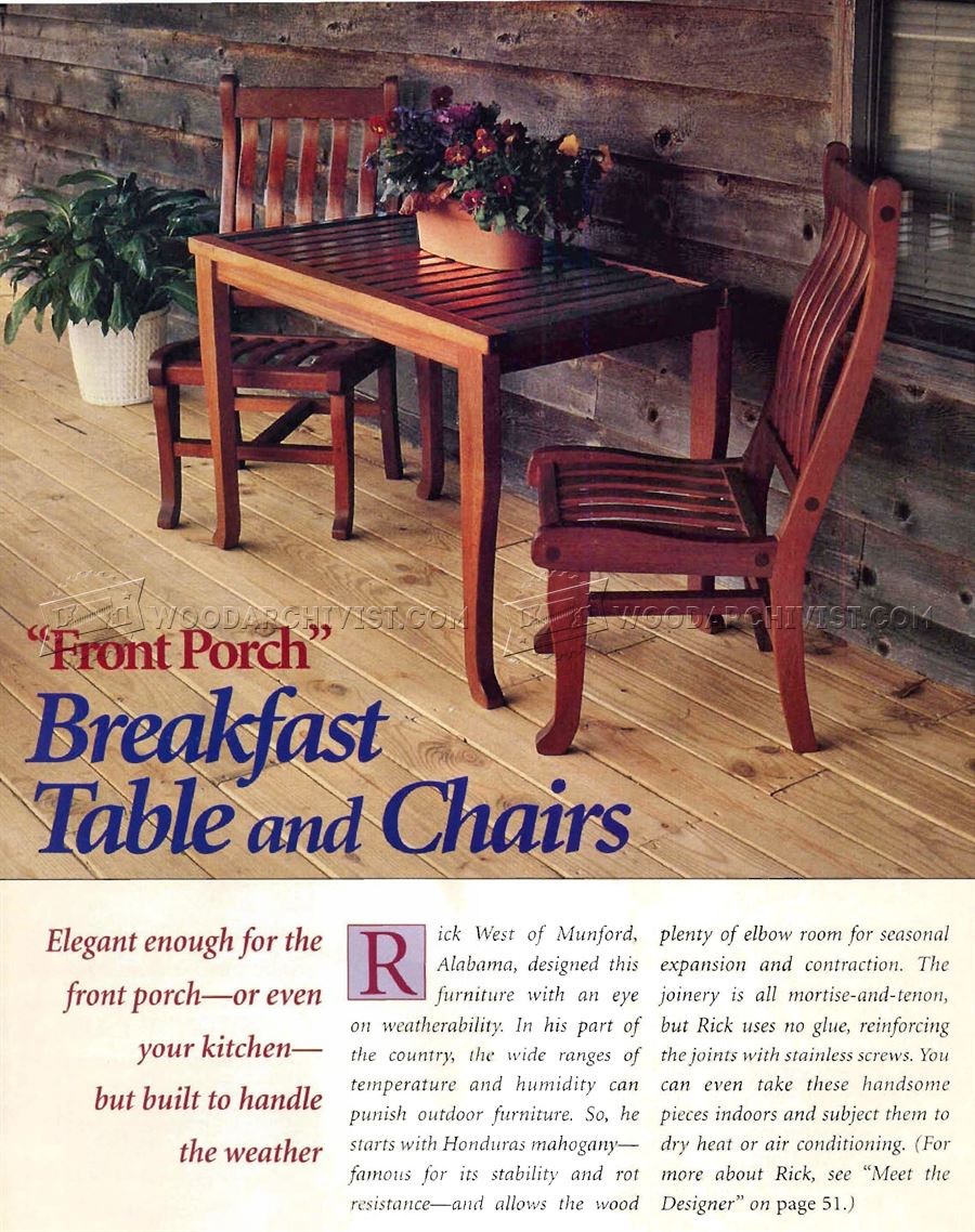 Breakfast Table and Chairs Plans