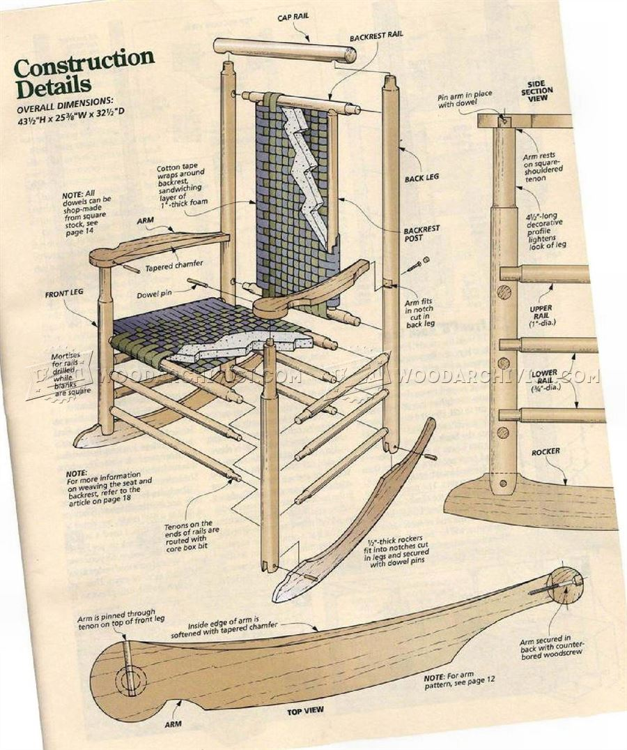 Wooden rocking chair plans -  Shaker Style Rocking Chair Plans