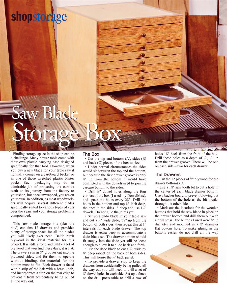 Saw Blade Storage Box Plan