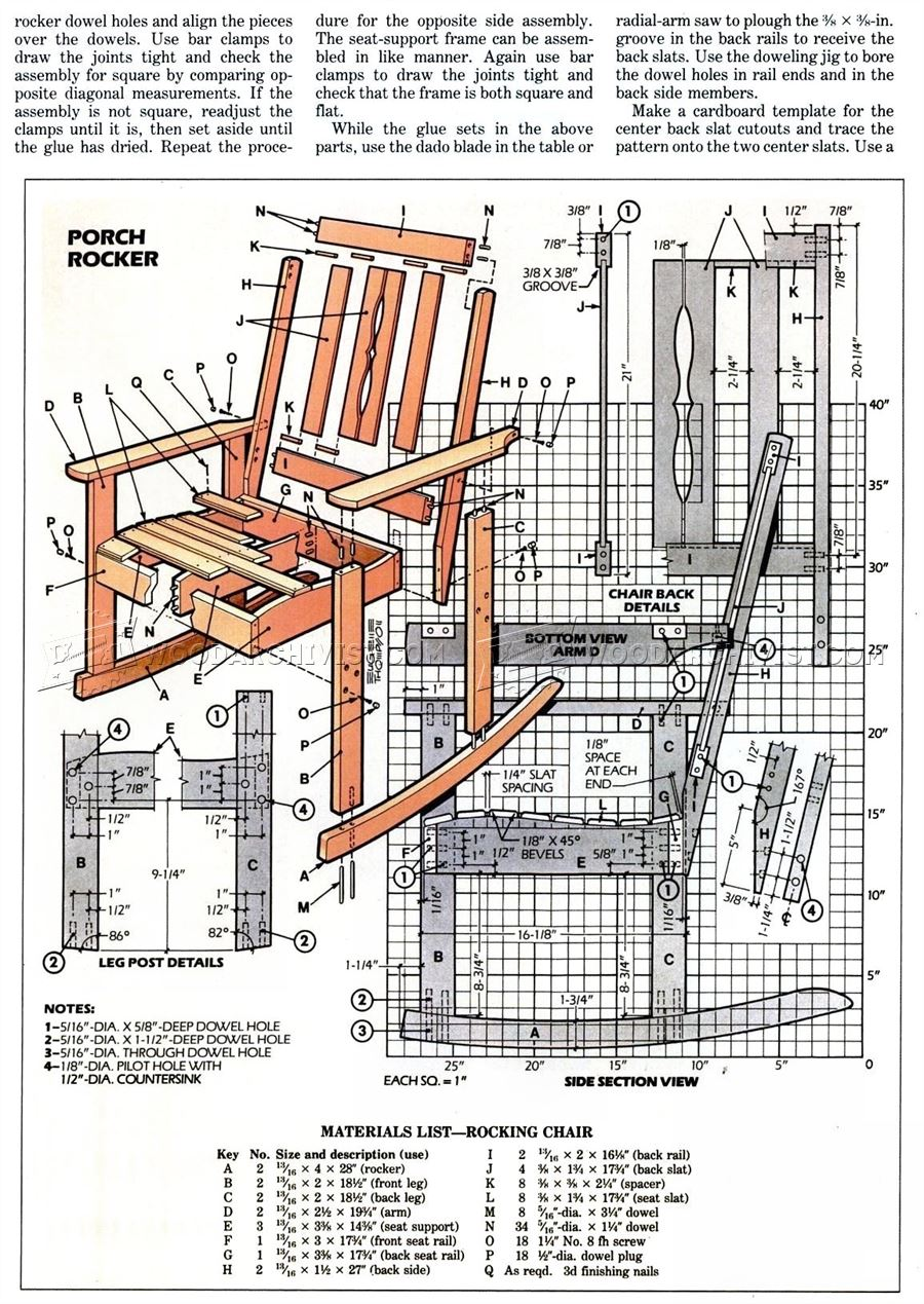 Solid Oak Rocking Chair Plans Woodarchivist