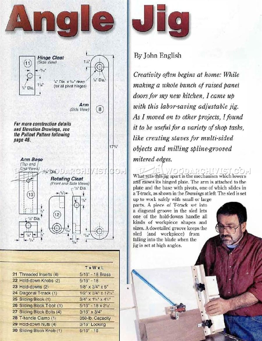 Table Saw Angle Jig Plans