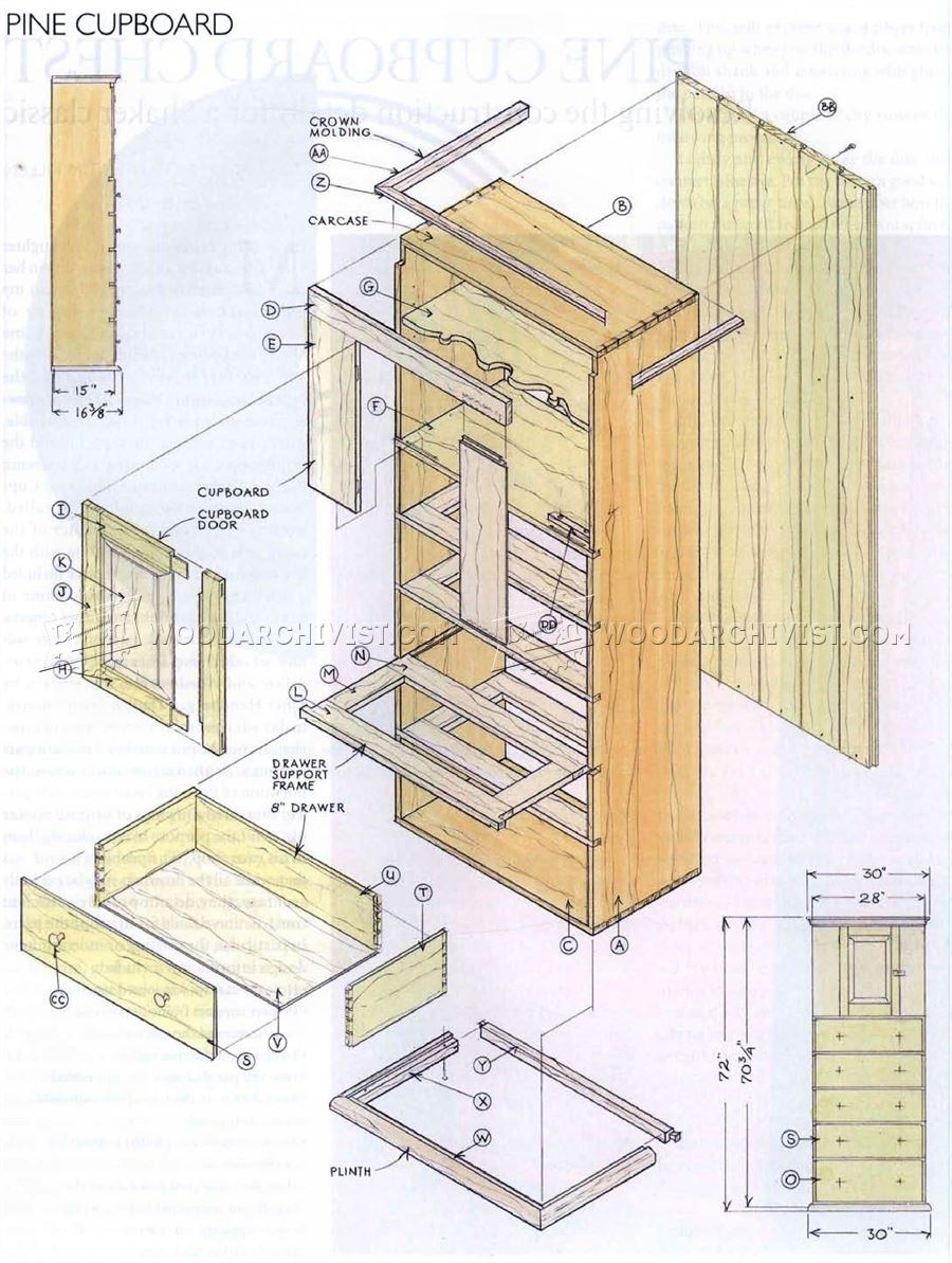 Pine Cupboard Chest  Plans