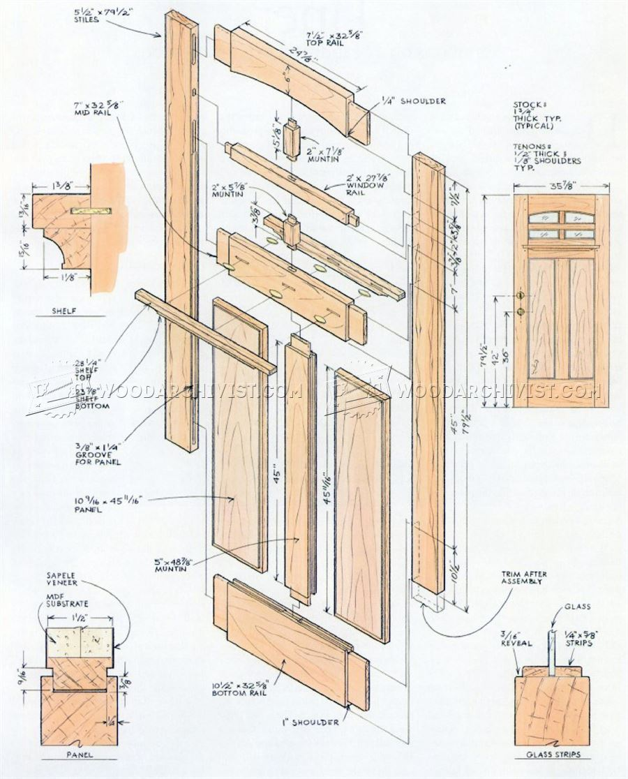 Front door plans woodarchivist for Solid wood door construction
