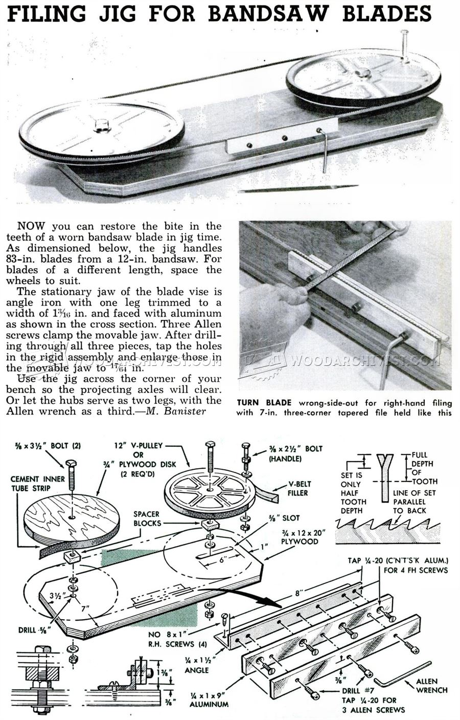 Filing Jig for Band Saw Blades