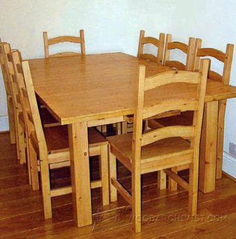 1012-Pine Dining Table and  Chairs Plans