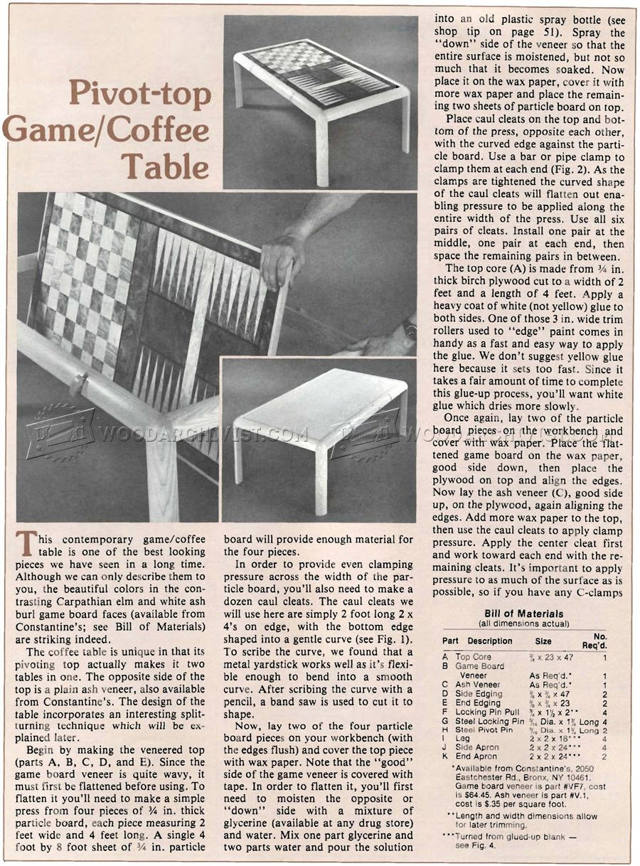 Game Coffee Table Plan