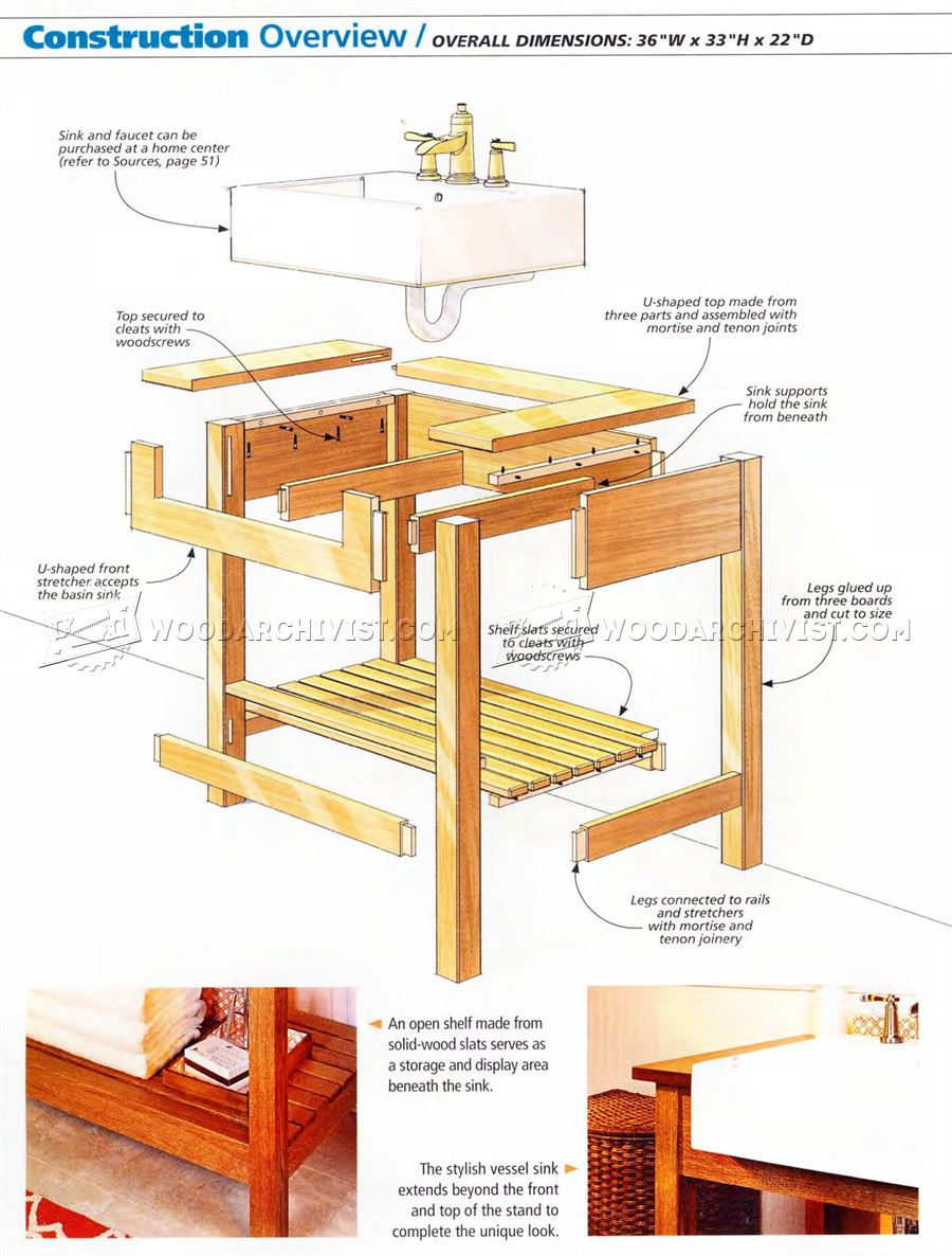 1025 craftsman style sink stand plan woodarchivist for Craftsman style desk plans
