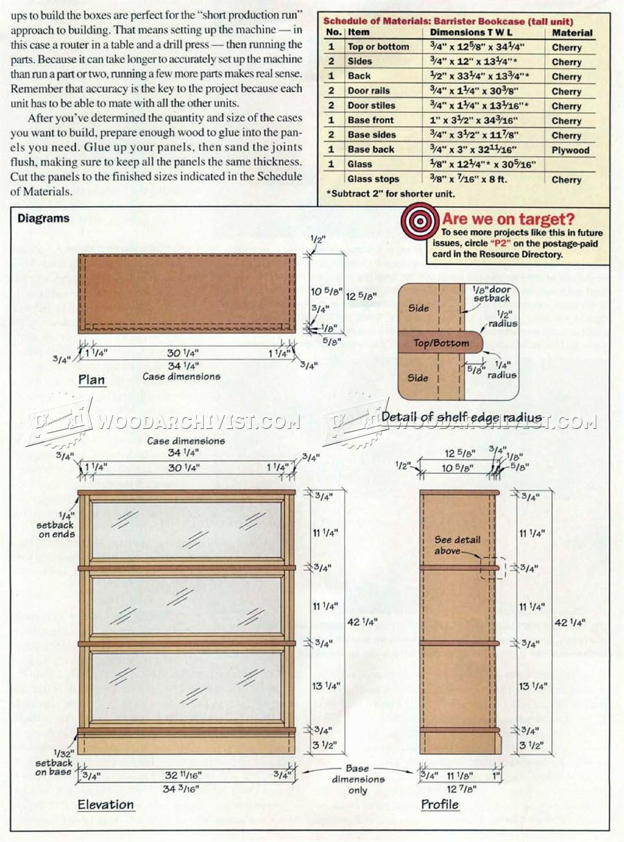 Barrister Bookcase Plans - Furniture Plans