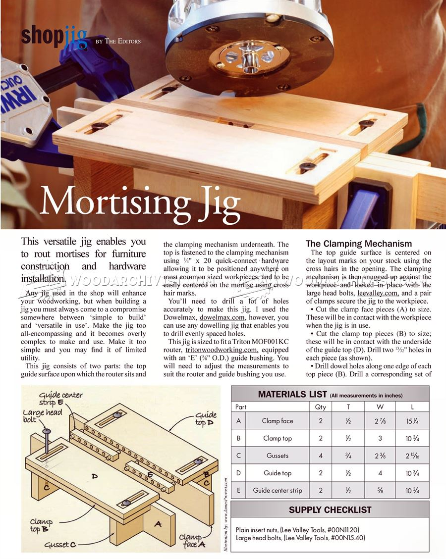 Mortising Jig Plans