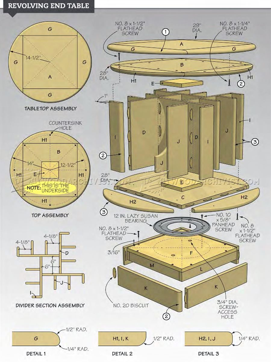 Revolving end table plans woodarchivist for Side table plans