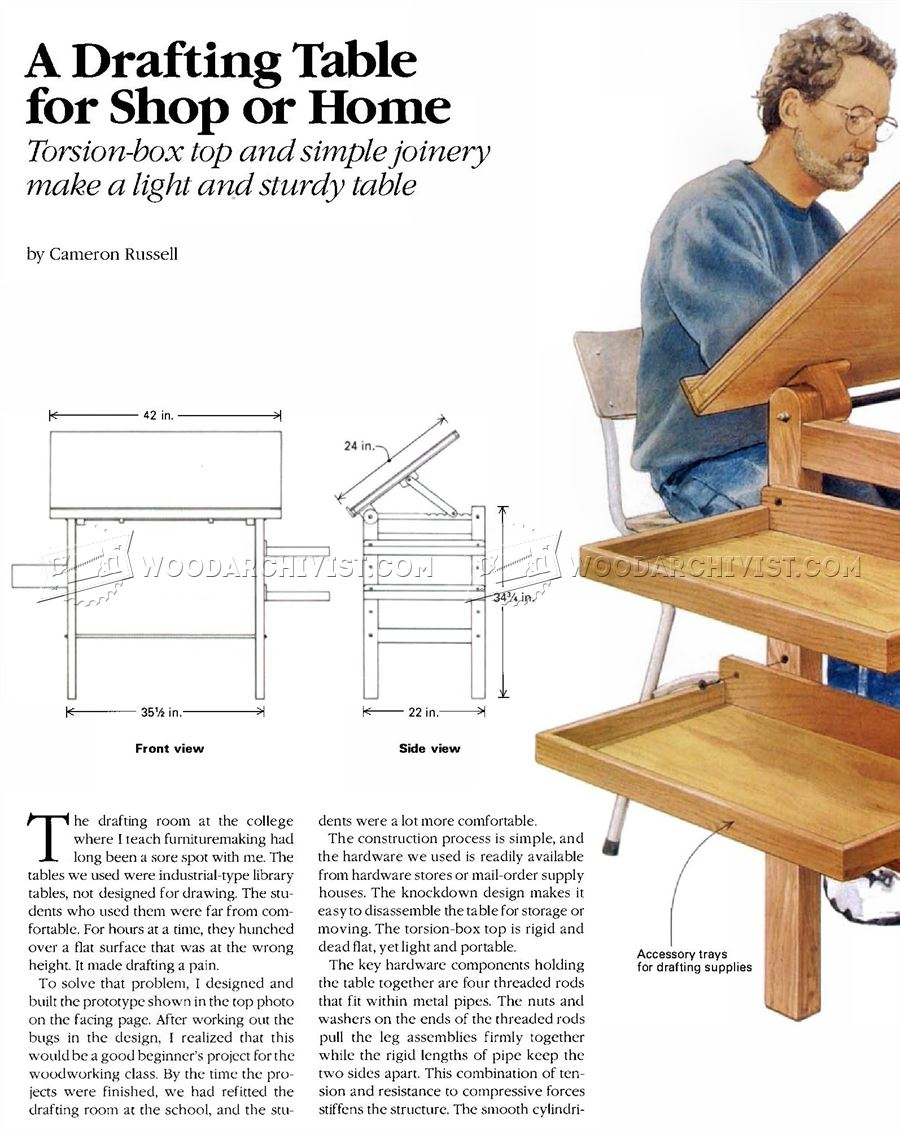 Brilliant Knockdown Drafting Table Plans  Woodworking Plans Workshop Solutions