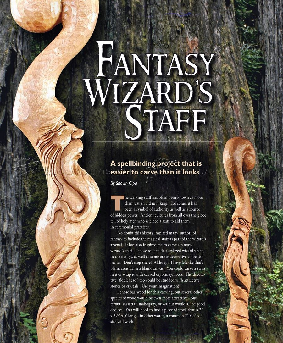 Carving Wizard Staff Wood Carving Patterns Woodarchivist