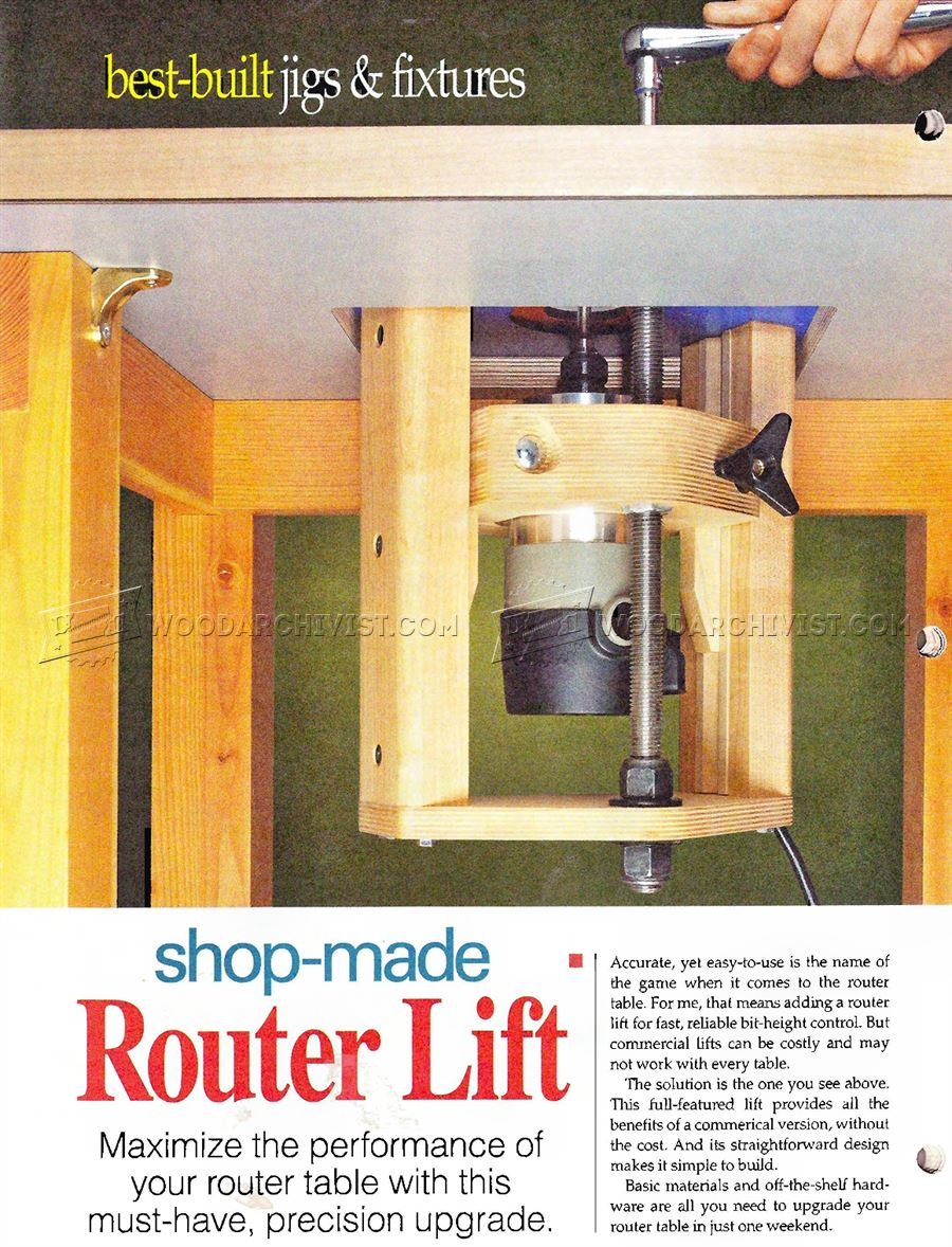 Router Table Lift Plans Woodarchivist