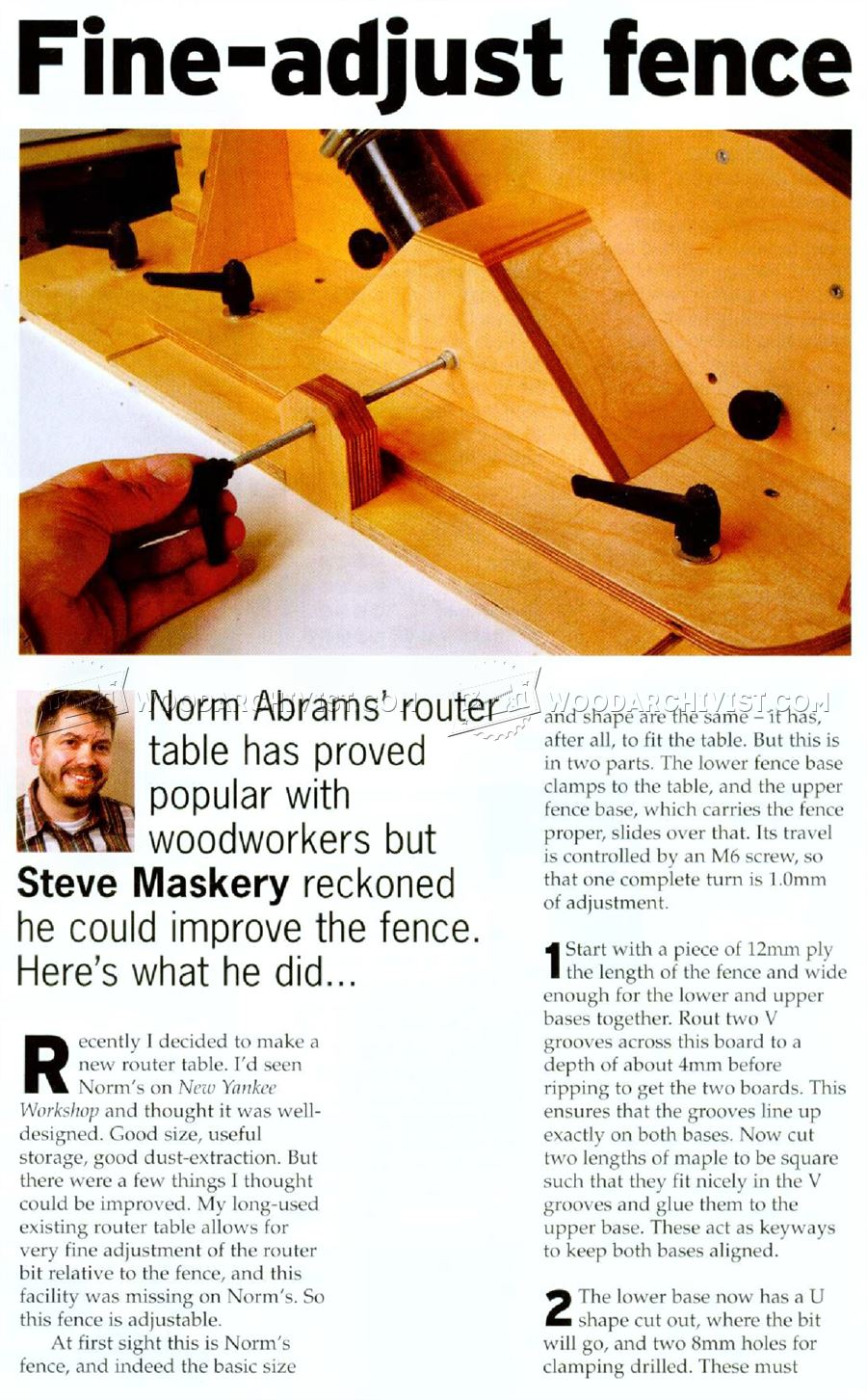 Router Table Fence Plans