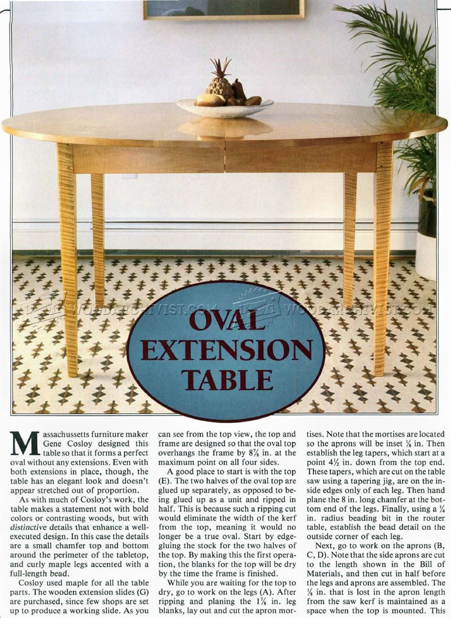 Oval Extension Table Plans