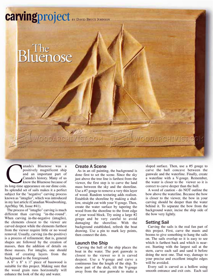 The Bluenose - Intaglio Wood Carving