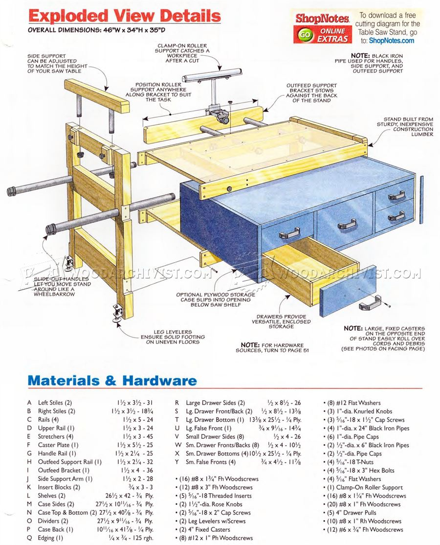 Benchtop Table Saw Stand Plans