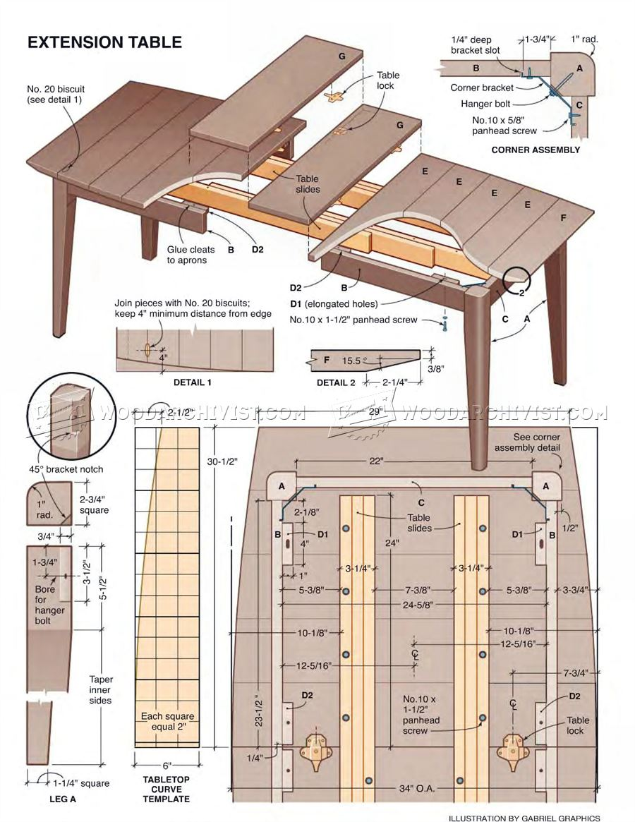 Extension dining table plans woodarchivist for Table design plans