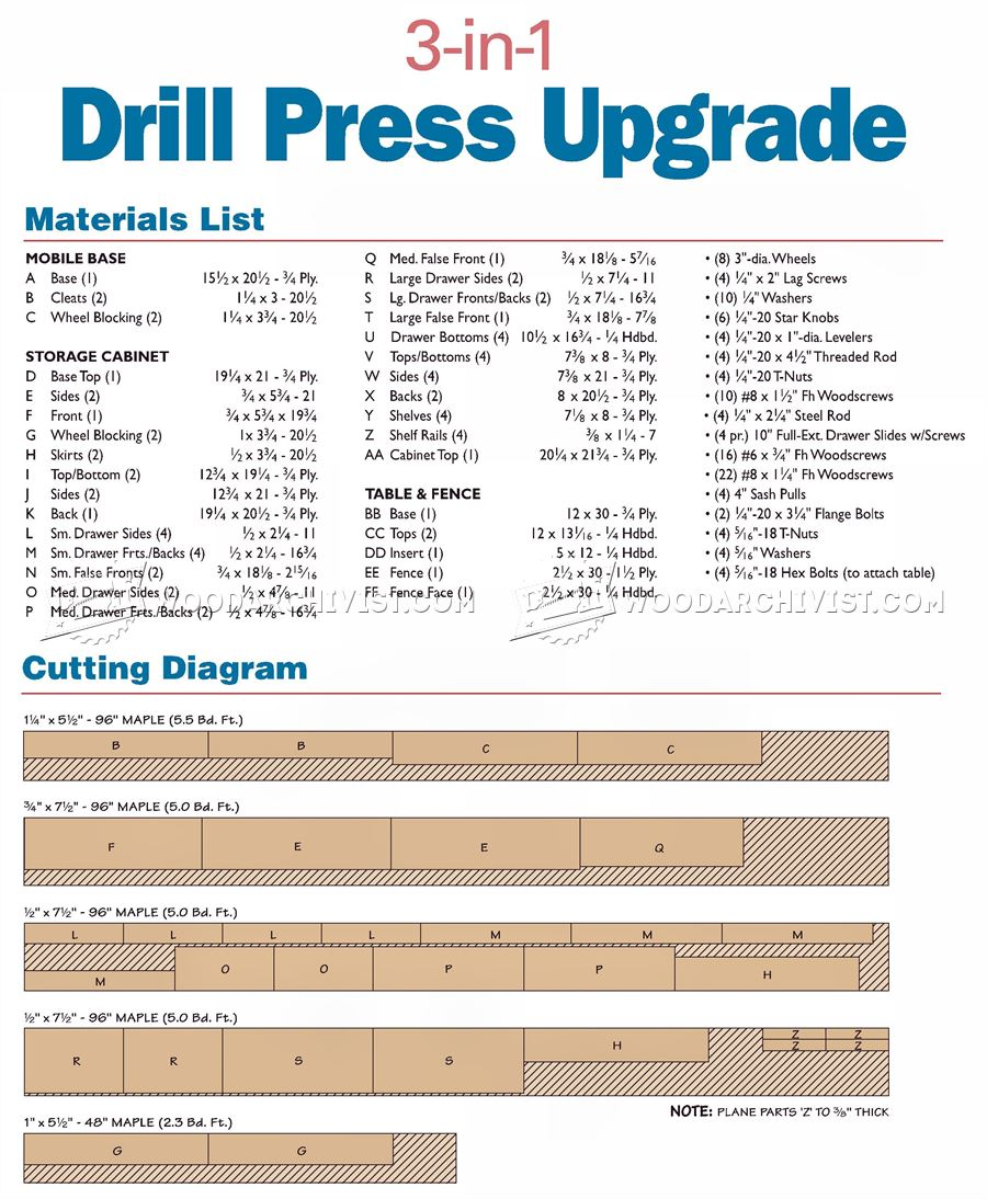 Drill Press Mobile Base Plans