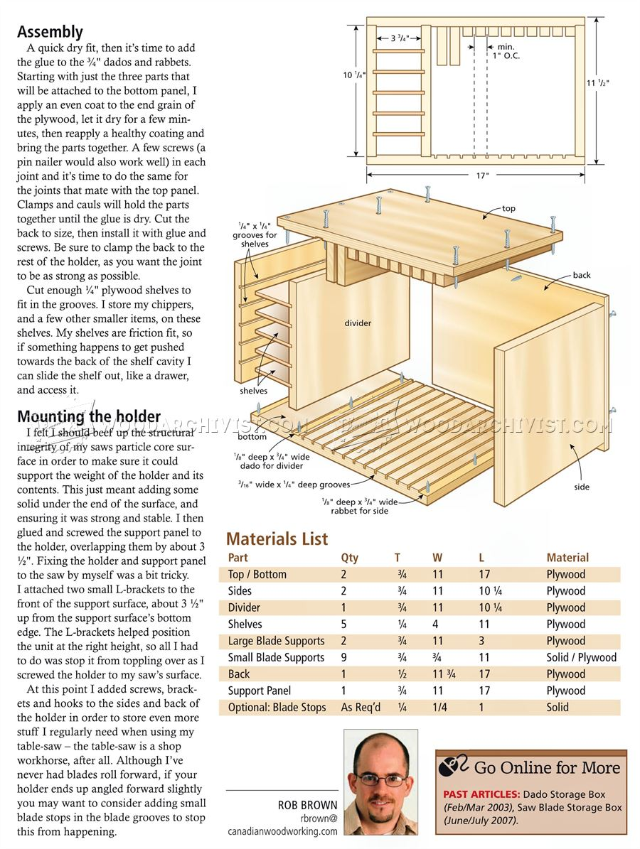 Perfect Bandsaw Blade Organizer Woodworking Plan From WOOD Magazine