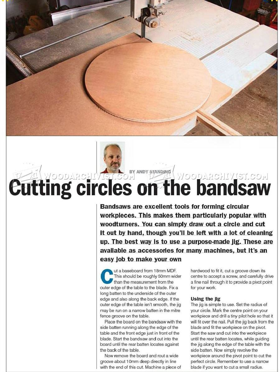 Bandsaw Circle Cutting Jig Woodarchivist