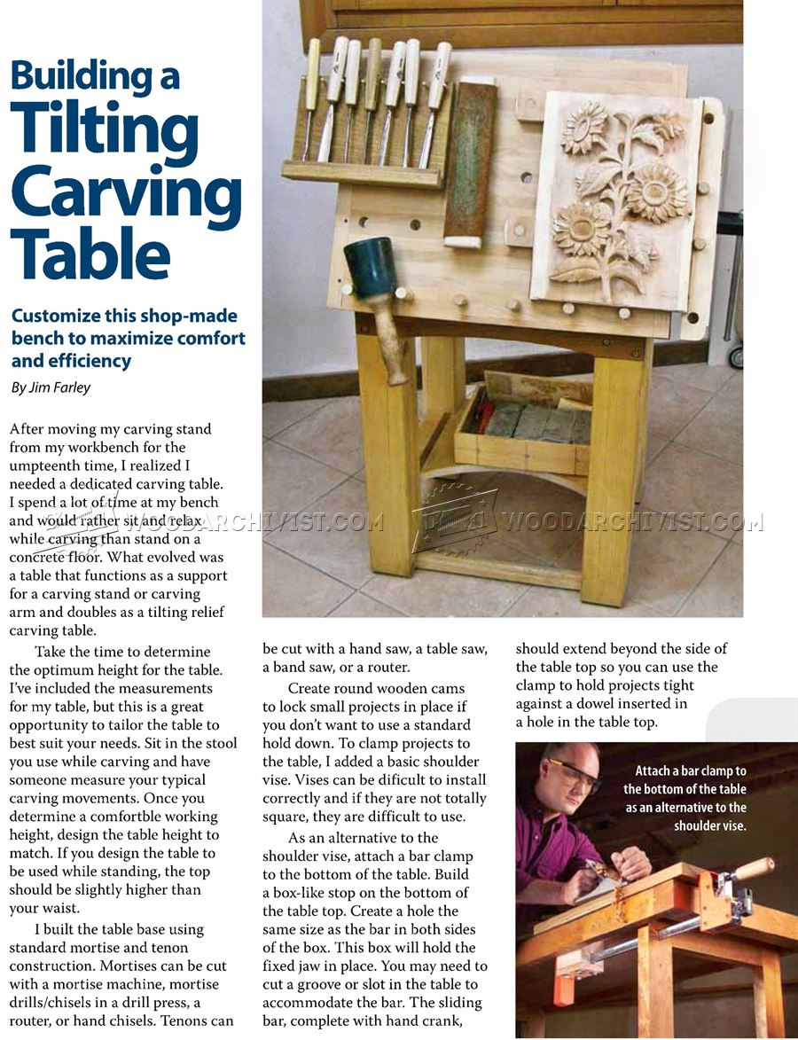Tilting Carving Table Plans
