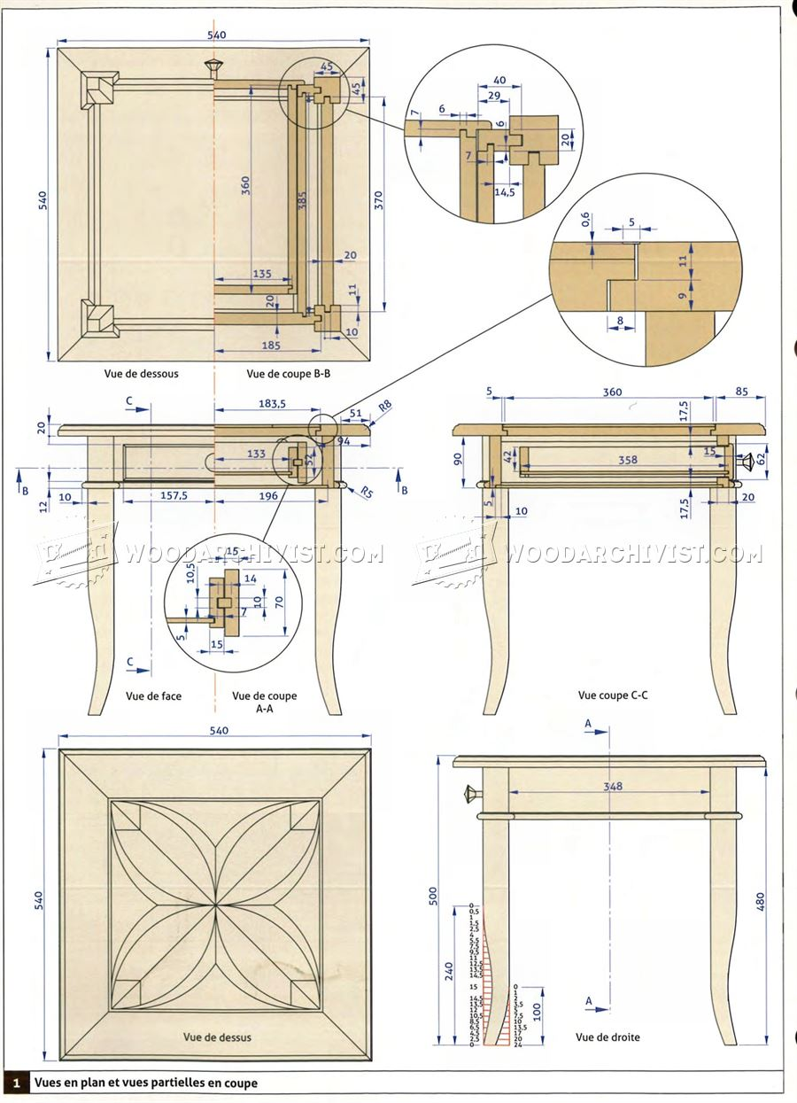 Marquetry Side Table Plans • WoodArchivist