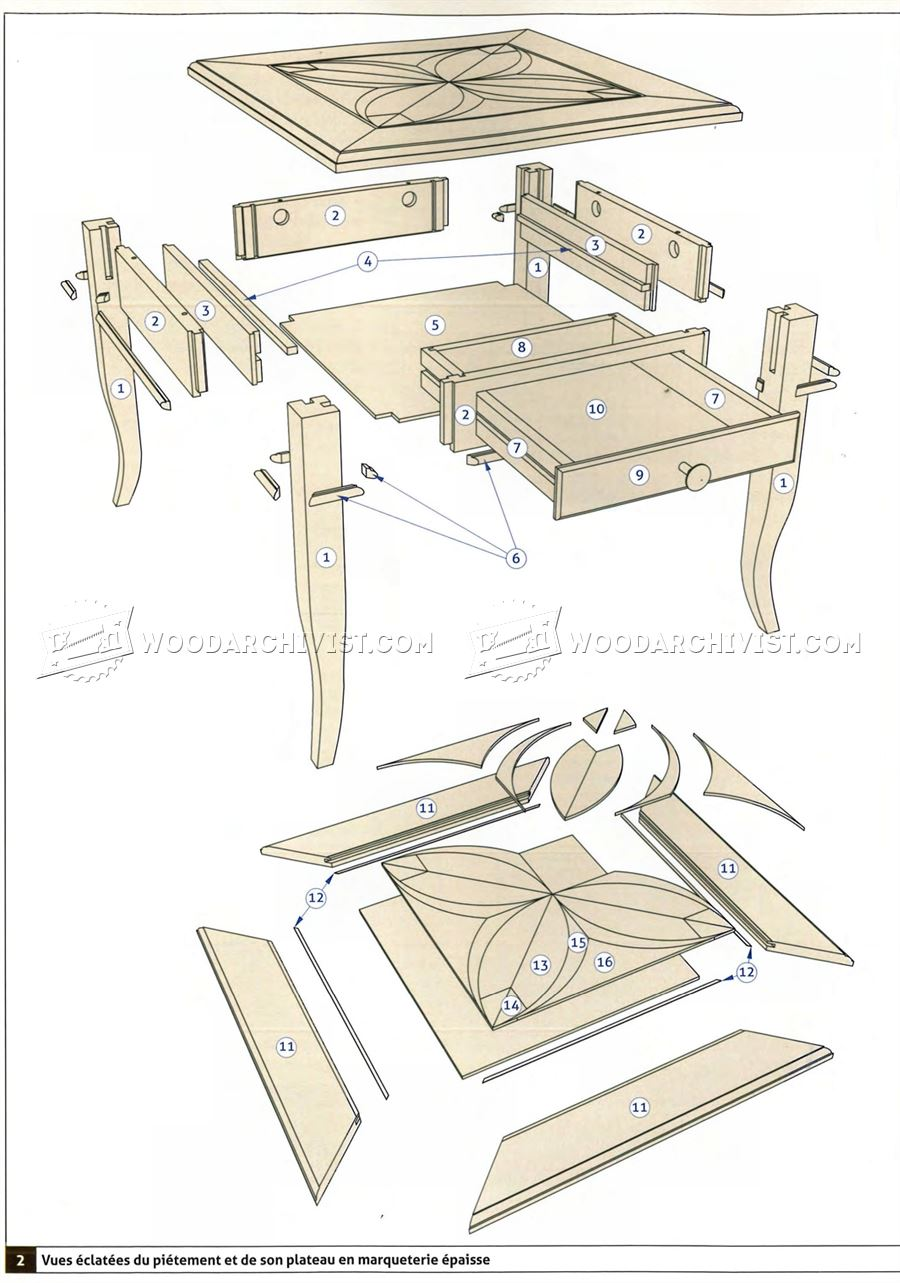 Marquetry side table plans woodarchivist for Side table plans