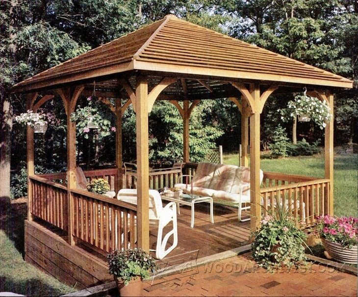 1206 wooden gazebo plans woodarchivist for Garden gazebo designs plans