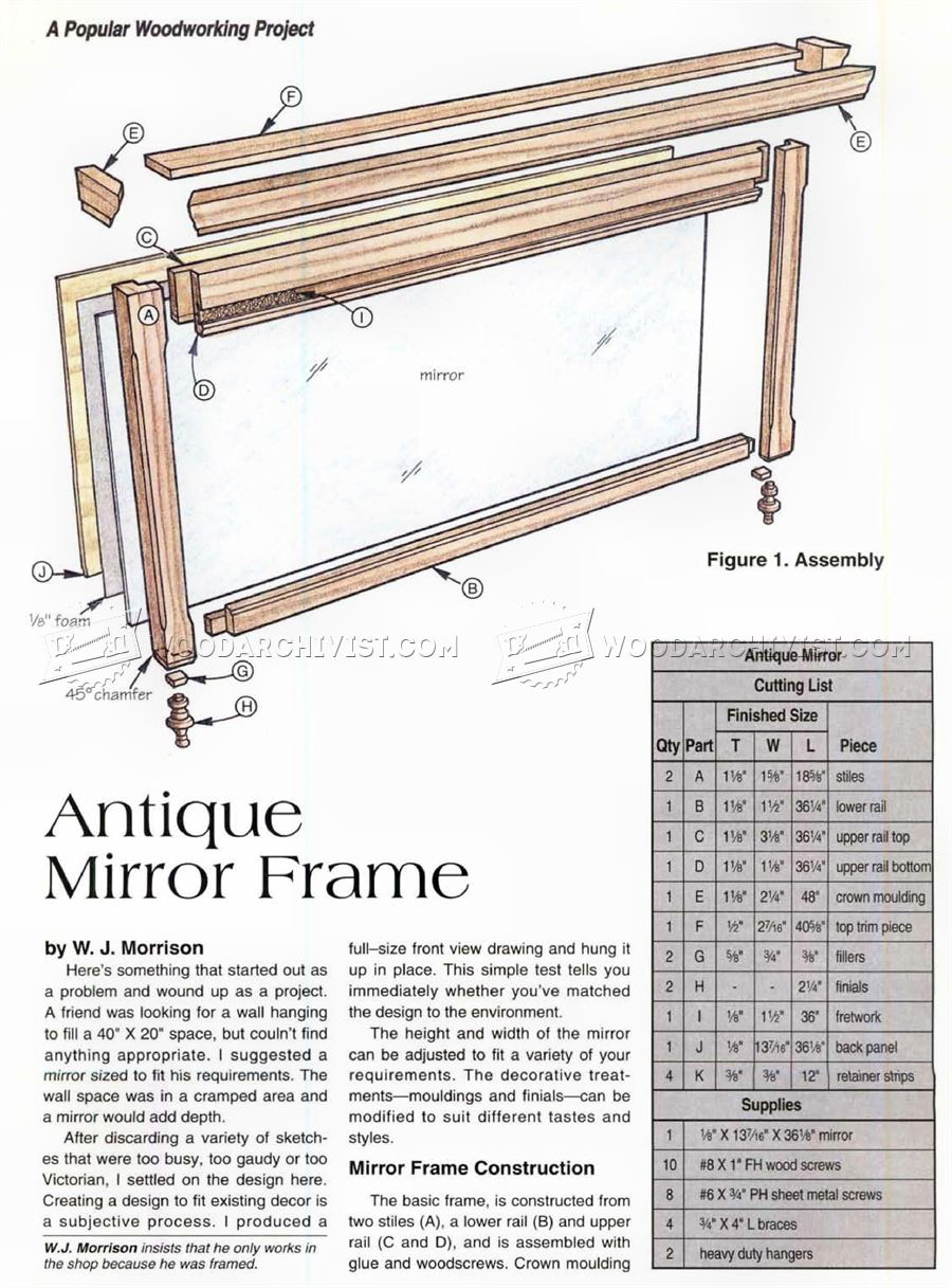 Antique Mirror Frame Plans • WoodArchivist