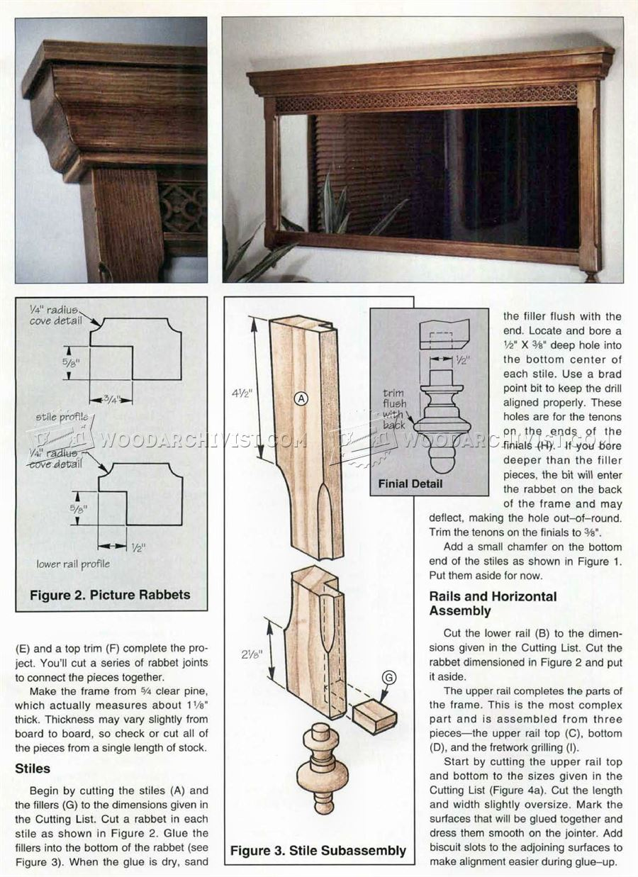 Antique Mirror Frame Plans Woodarchivist