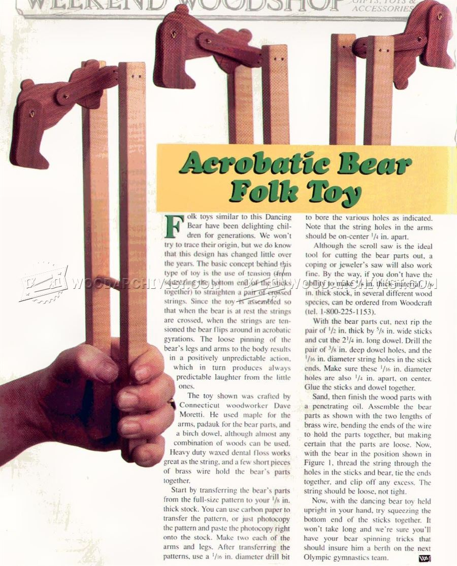 1247 Acrobatic Bear Folk Toy Plans on Easy Woodworking Wood Projects