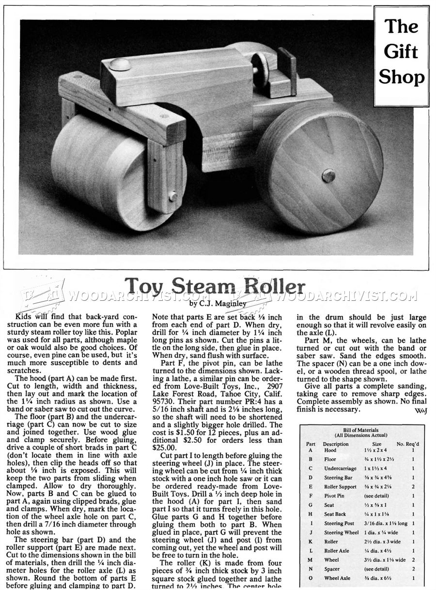 Wooden Steam Roller Plan