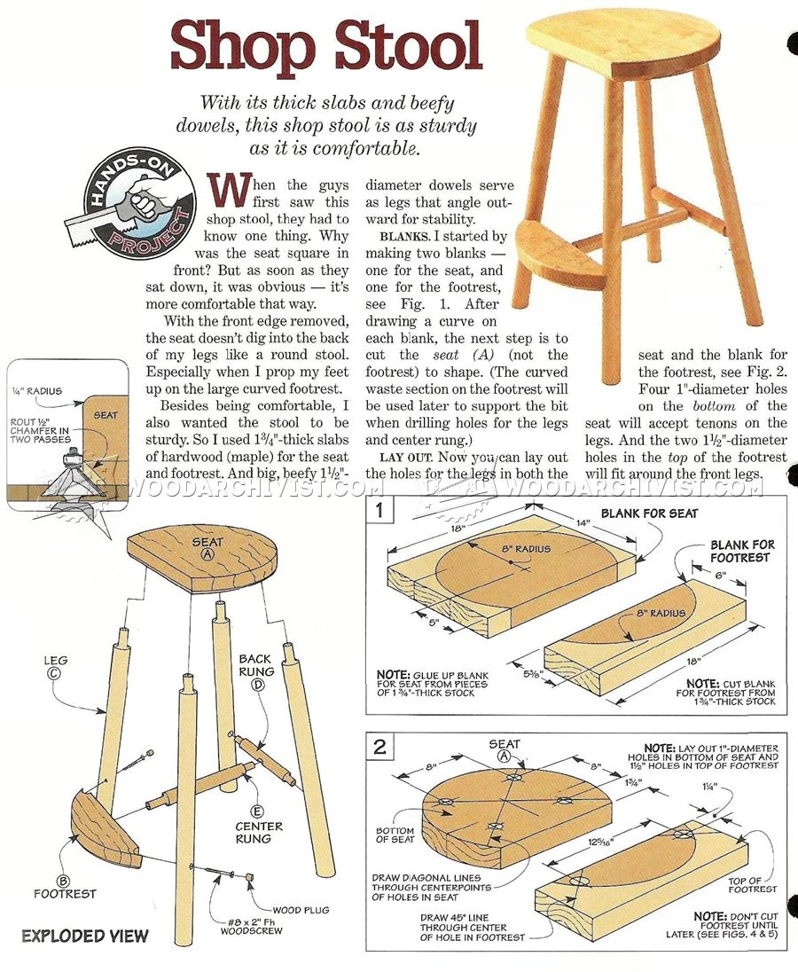 1257 Shop Stool Plans - Furniture Plans Workshop Solutions