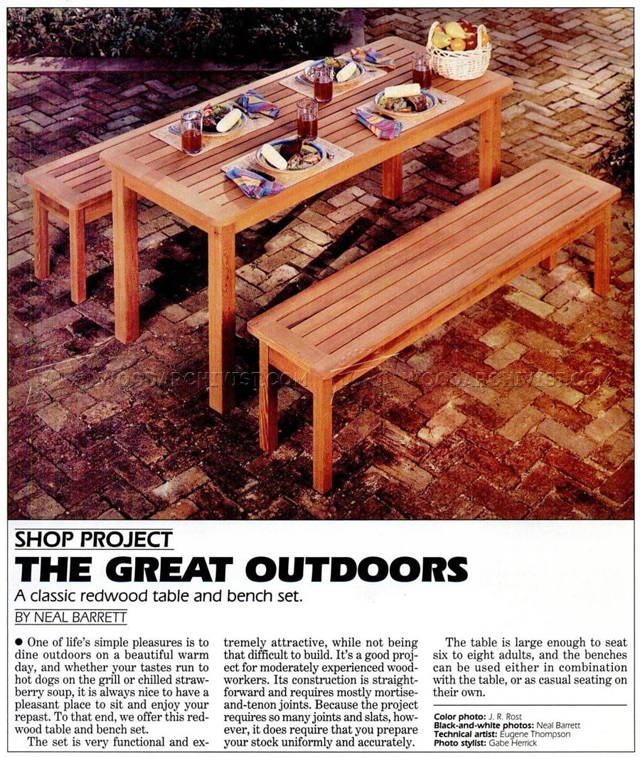 Outdoor Table and Bench Plans